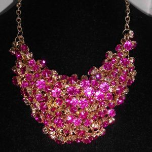 Heavy Gold Tone Pink Plastic Rhinestone Necklace